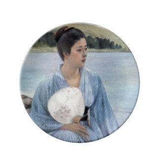 Placa LATERAL de la porcelana del LAGO Plato De Cerámica