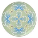 Placa ligera de la flor de la verde salvia platos
