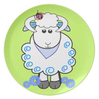 Placa linda con el espolón/las ovejas del dibujo a plato
