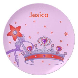 Placa linda de la corona de la princesa del chica platos