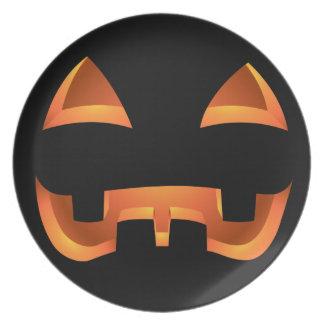 Placa linda de la Jack-o-linterna de Halloween de  Platos De Comidas