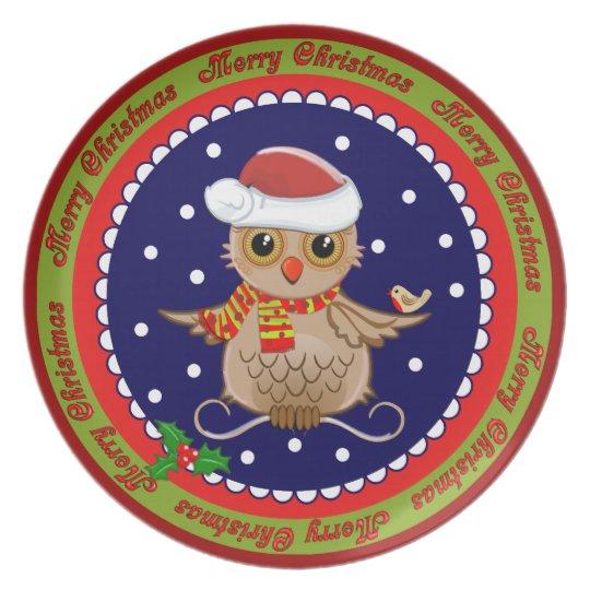 Placa linda de las Felices Navidad del búho del di Plato