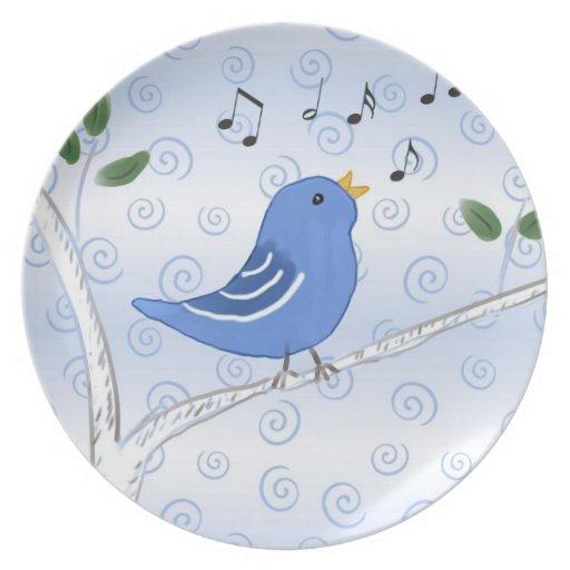 Placa linda del Bluebird del canto Platos De Comidas
