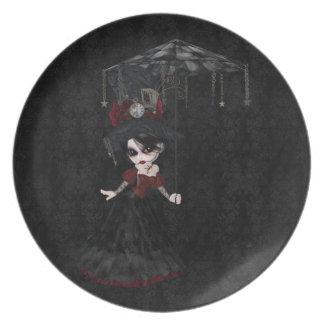 Placa linda del damasco del negro del chica del plato