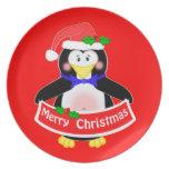 Placa linda del navidad del pingüino de Santa Plato De Cena