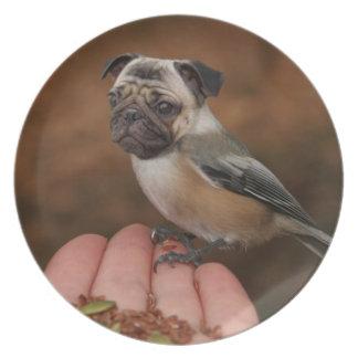 Placa linda del pájaro del barro amasado plato de cena