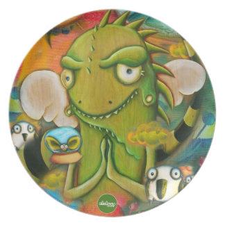 Placa linda del personaje de dibujos animados de l plato para fiesta