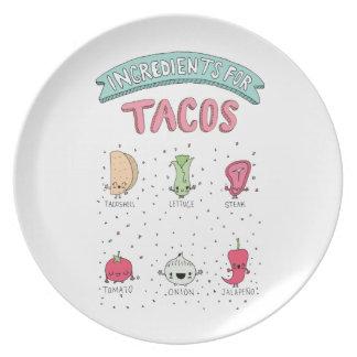 Placa linda del Taco Plato Para Fiesta