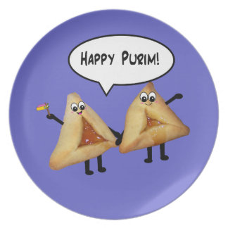 Placa linda feliz de Purim Hamantashen - púrpura Platos