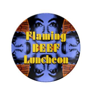 Placa llameante del alumerzo de la carne de vaca plato de cerámica