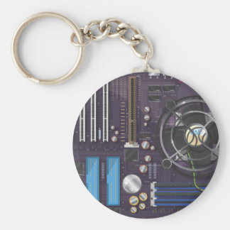 Placa madre del ordenador llavero redondo tipo pin