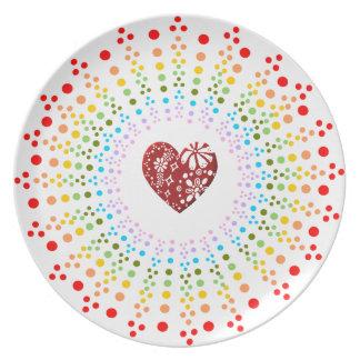Placa manchada de Starburst del arco iris con el c Platos Para Fiestas
