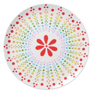 Placa manchada de Starburst del arco iris con la f Plato De Cena