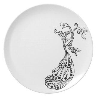 Placa manchada del pavo real plato de cena