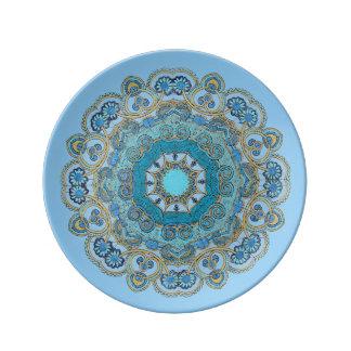 Placa Mano-Coloreada de Porcelin de la mandala 12 Plato De Cerámica
