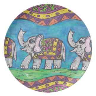 Placa maravillosa del desfile del elefante plato para fiesta