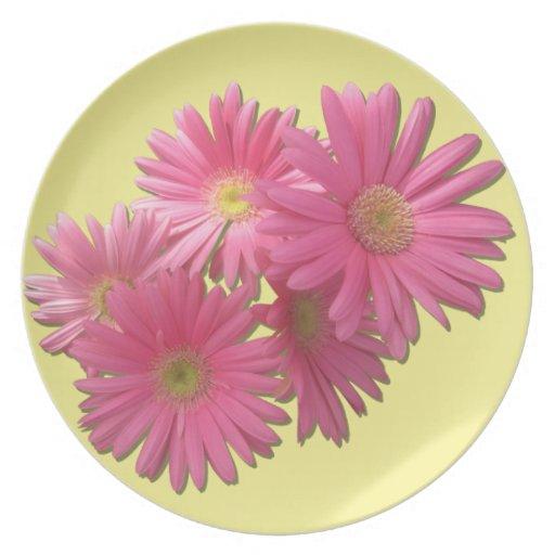 Placa - margaritas rosadas oscuras del Gerbera Plato Para Fiesta