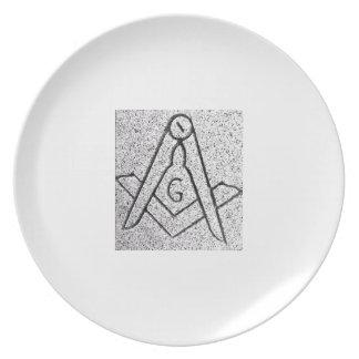 Placa masónica de la vieja moda plato de comida