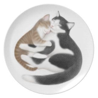 Placa maternal de los gatos del amor plato de cena