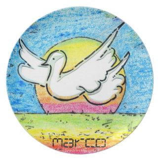 Placa máxima de la paz de la paloma de las ilustra platos de comidas