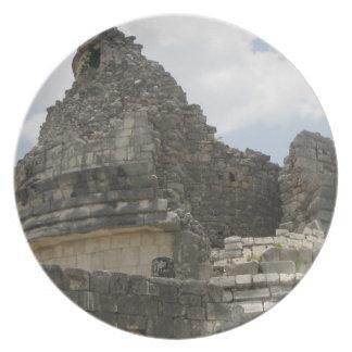 Placa maya de la ruina plato de cena