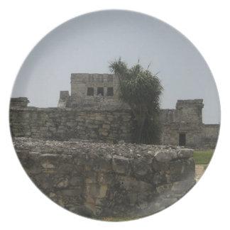 Placa maya de la ruina plato para fiesta