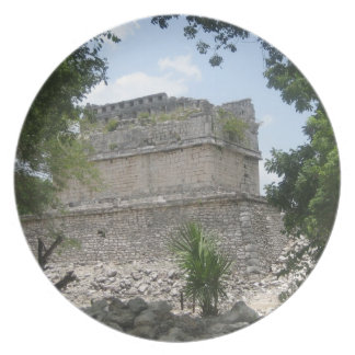Placa maya de la ruina platos de comidas