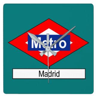 Placa Metro Madrid Reloj Cuadrado