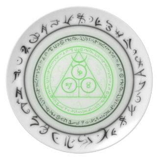Placa mística arcana del diseño platos de comidas