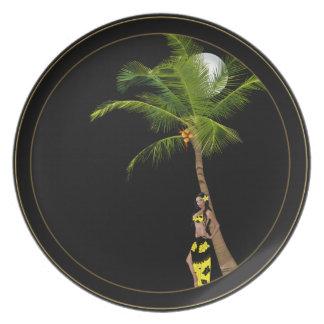 Placa modela del árbol de coco de Wahine Platos