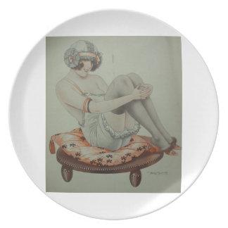 placa modela francesa de Deco del chica de la alet Plato