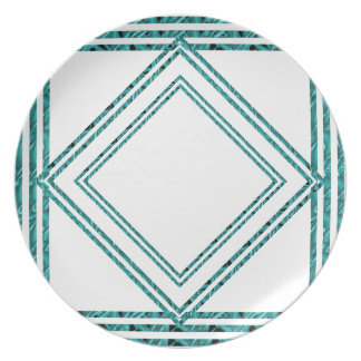 Placa modelada diamante del crespón de la turquesa plato para fiesta