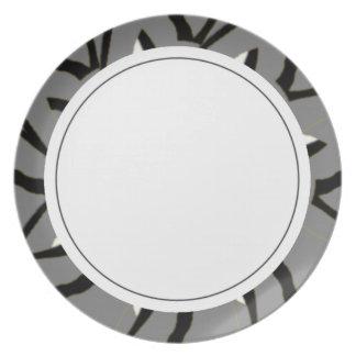 Placa modelada Personalizable gris del rayo Plato