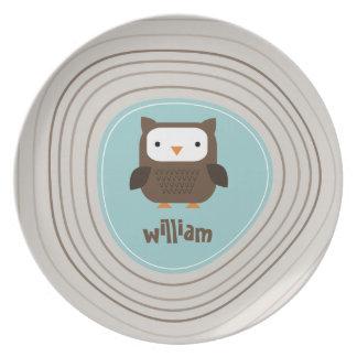 Placa moderna de la melamina de la luz del búho platos para fiestas