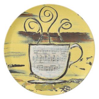 Placa moderna del café de la cocina platos