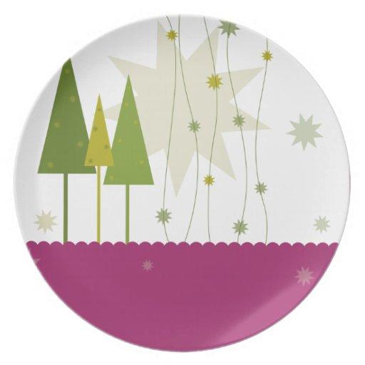 placa moderna del navidad platos para fiestas