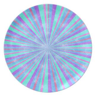 Placa multi en colores pastel de Patterend de la r Plato De Comida