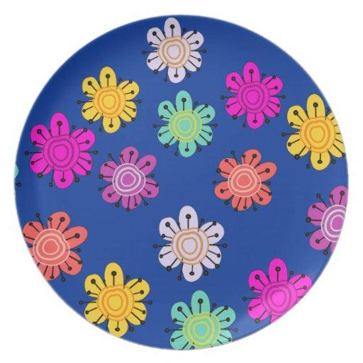 Placa multicolora decorativa de la flor (marina de platos para fiestas
