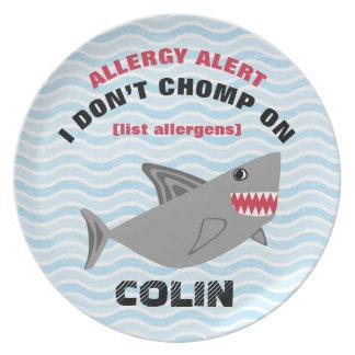Placa múltiple del tiburón de la alarma de la plato de cena