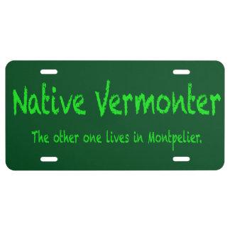 Placa nativa del Vermonter Placa De Matrícula
