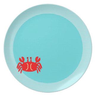 Placa náutica azul del cangrejo de Tiffany de la m Platos De Comidas
