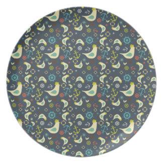Placa náutica retra de la melamina de la gaviota plato para fiesta