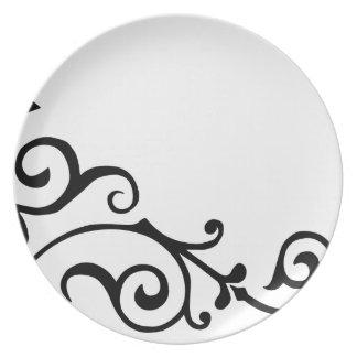 Placa (negra) de la marfil del cirro plato de comida