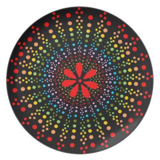 Placa negra de Starburst del arco iris manchado +  Plato Para Fiesta