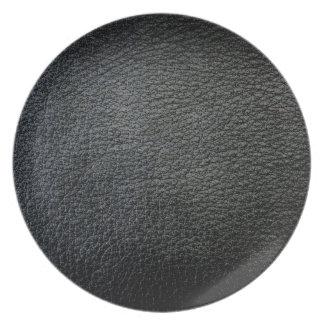Placa negra del diseñador de la imitación de cuero plato