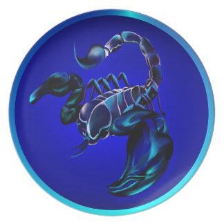 Placa negra del escorpión plato de cena