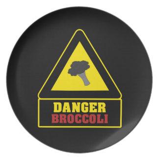 Placa negra del fiesta del bróculi del peligro plato para fiesta