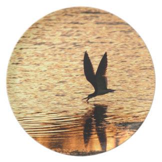 Placa negra del pájaro de la desnatadora platos para fiestas
