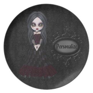 Placa negra personalizada chica lindo del gótico y plato para fiesta