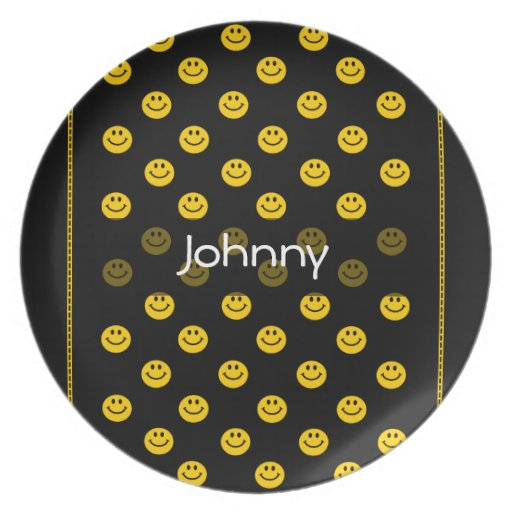 Placa negra personalizada modelo sonriente amarill platos para fiestas